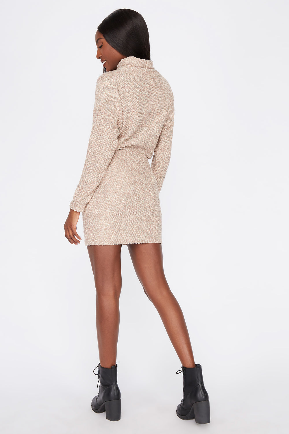 Textured Knit Mini Skirt Taupe