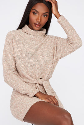 Textured Knit Cowl Neck Cropped Sweater