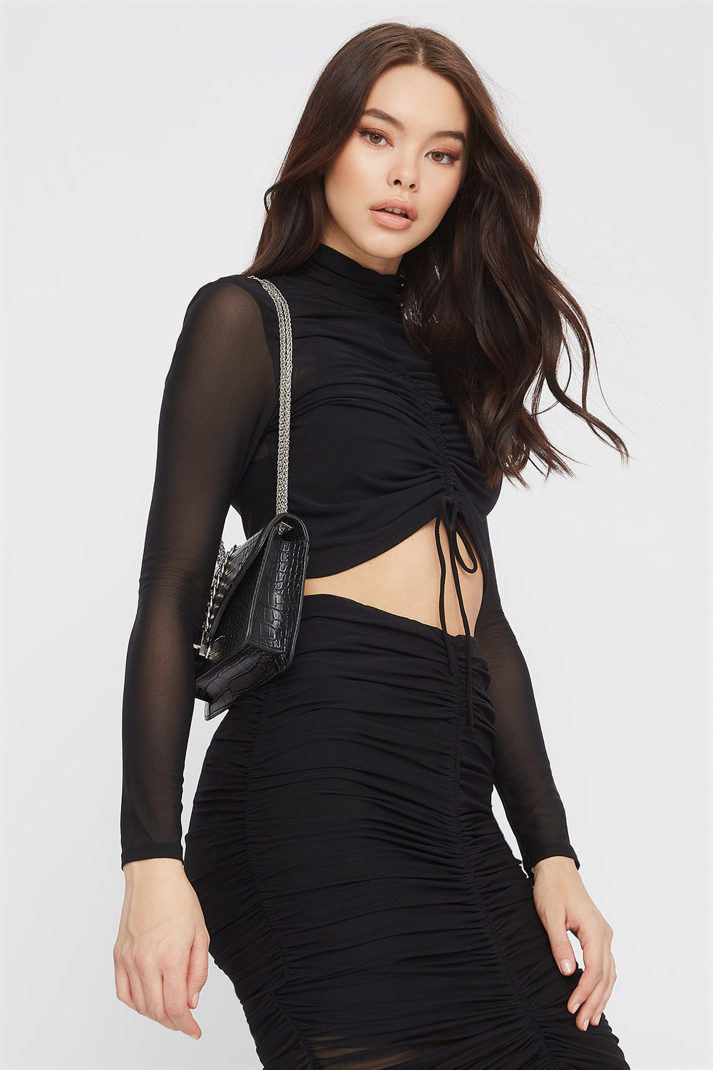 Drawstring Mesh Cropped Long Sleeve Black