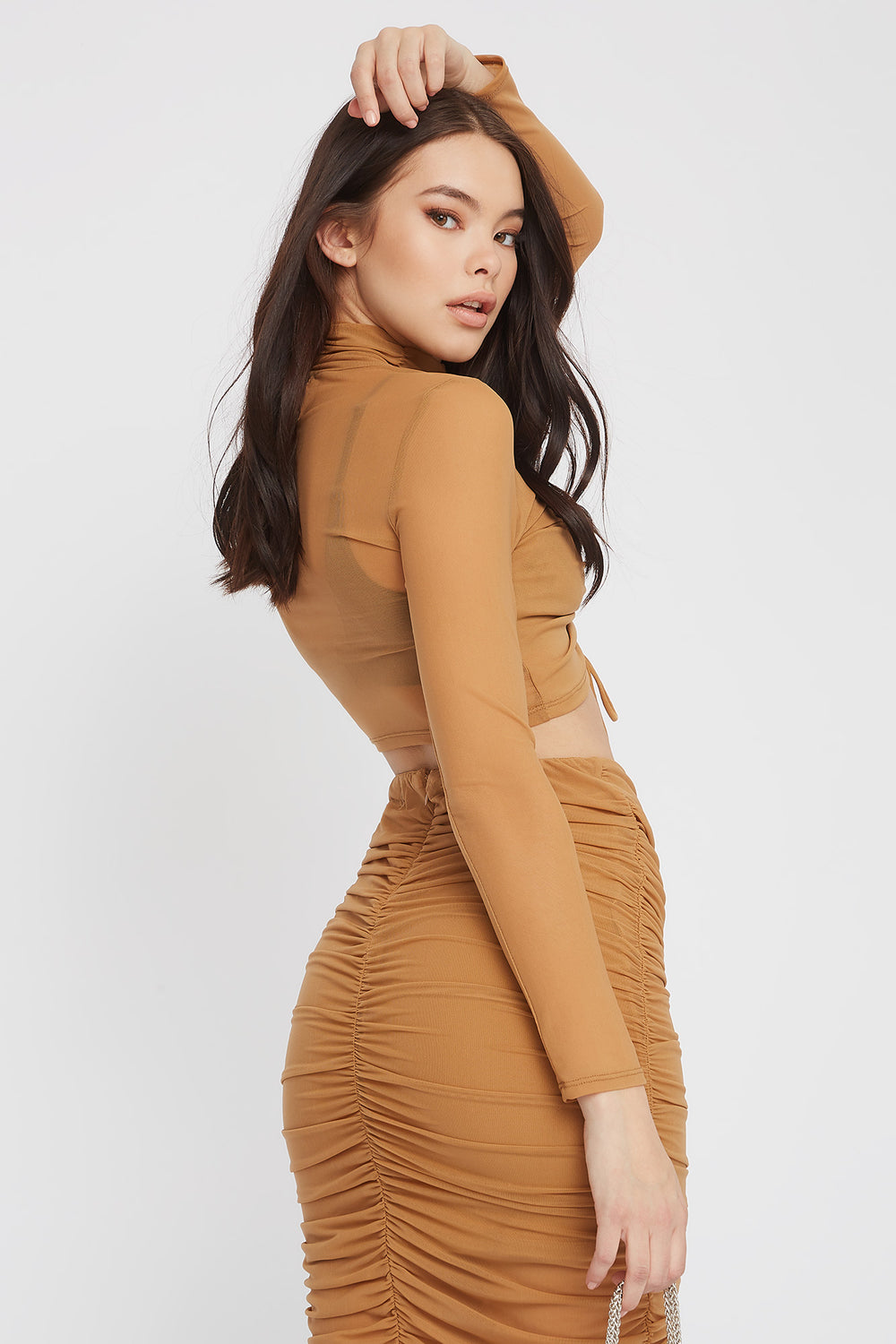 Drawstring Mesh Cropped Long Sleeve Tan