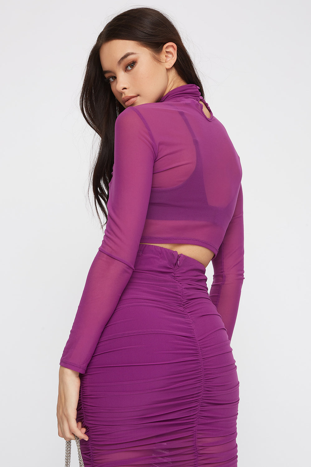Drawstring Mesh Cropped Long Sleeve Purple