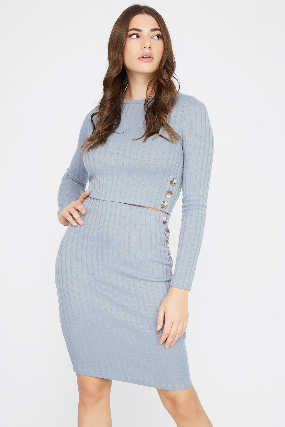Ribbed Button Side Long Sleeve Grey Blue