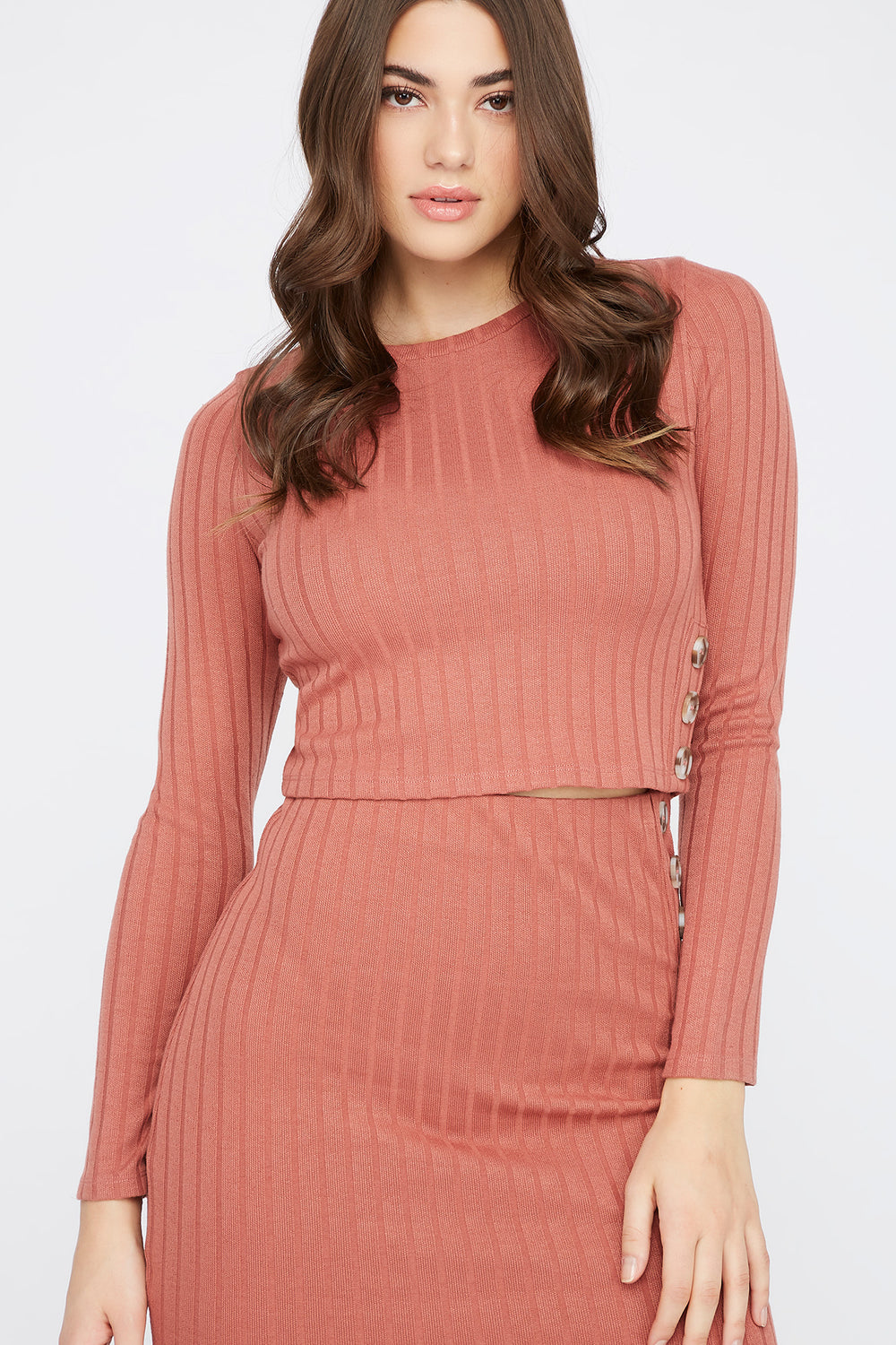 Ribbed Button Side Long Sleeve Dark Pink