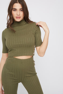 Cropped Ribbed Mock Neck Top