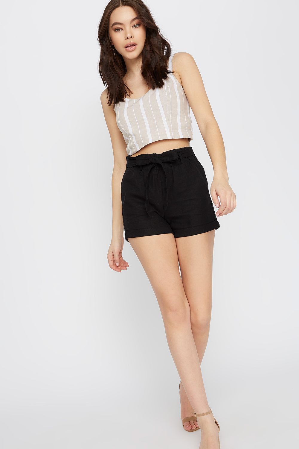 Solid Paperbag Linen Short Black