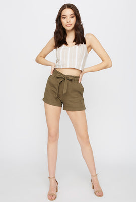 Solid Paperbag Linen Short