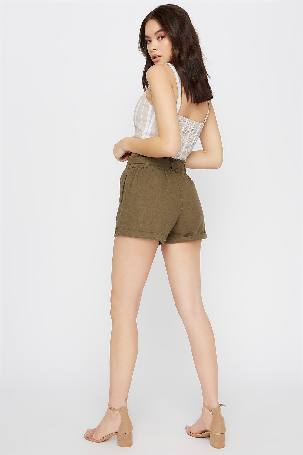 Solid Paperbag Linen Short Dark Green