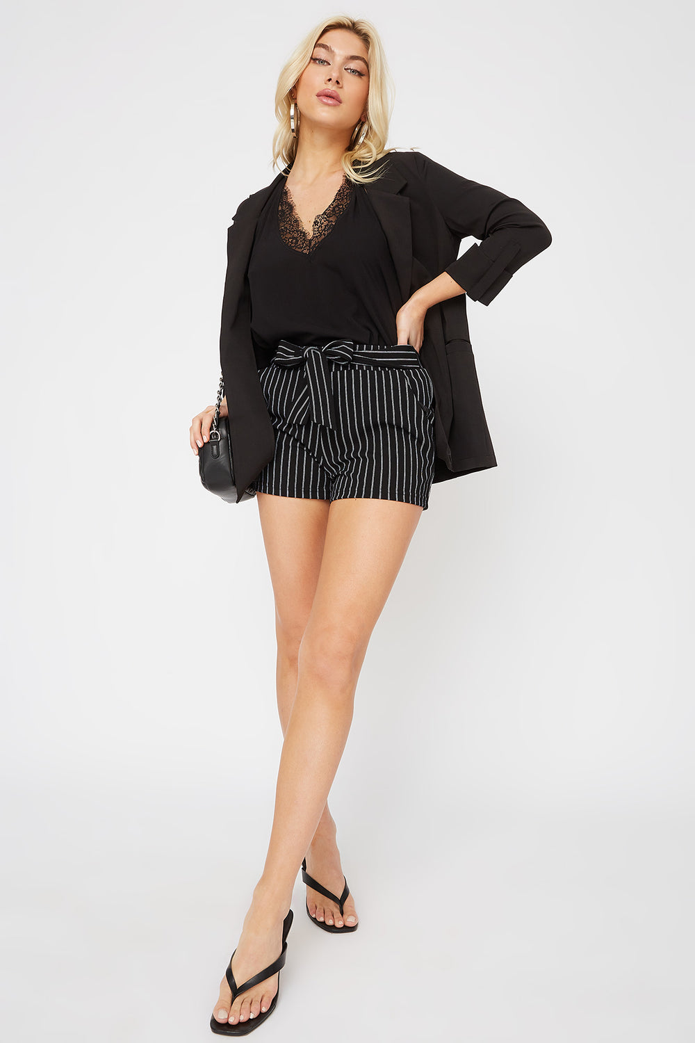 Knit Striped Short Black with White