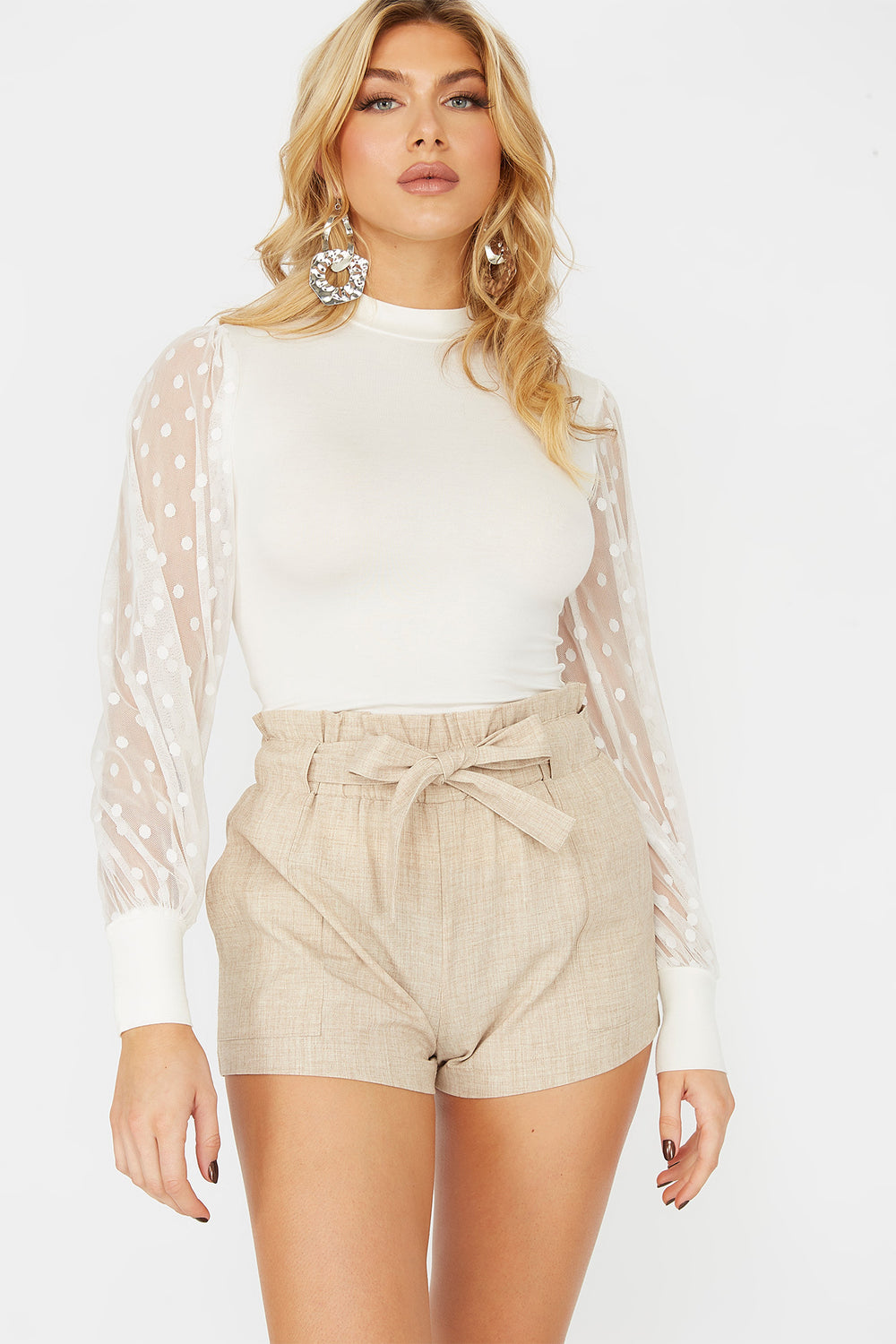 High-Rise Paperbag Ruffle Waist Belted Short Natural