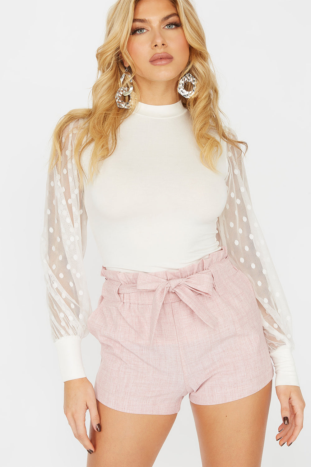 High-Rise Paperbag Ruffle Waist Belted Short Pink