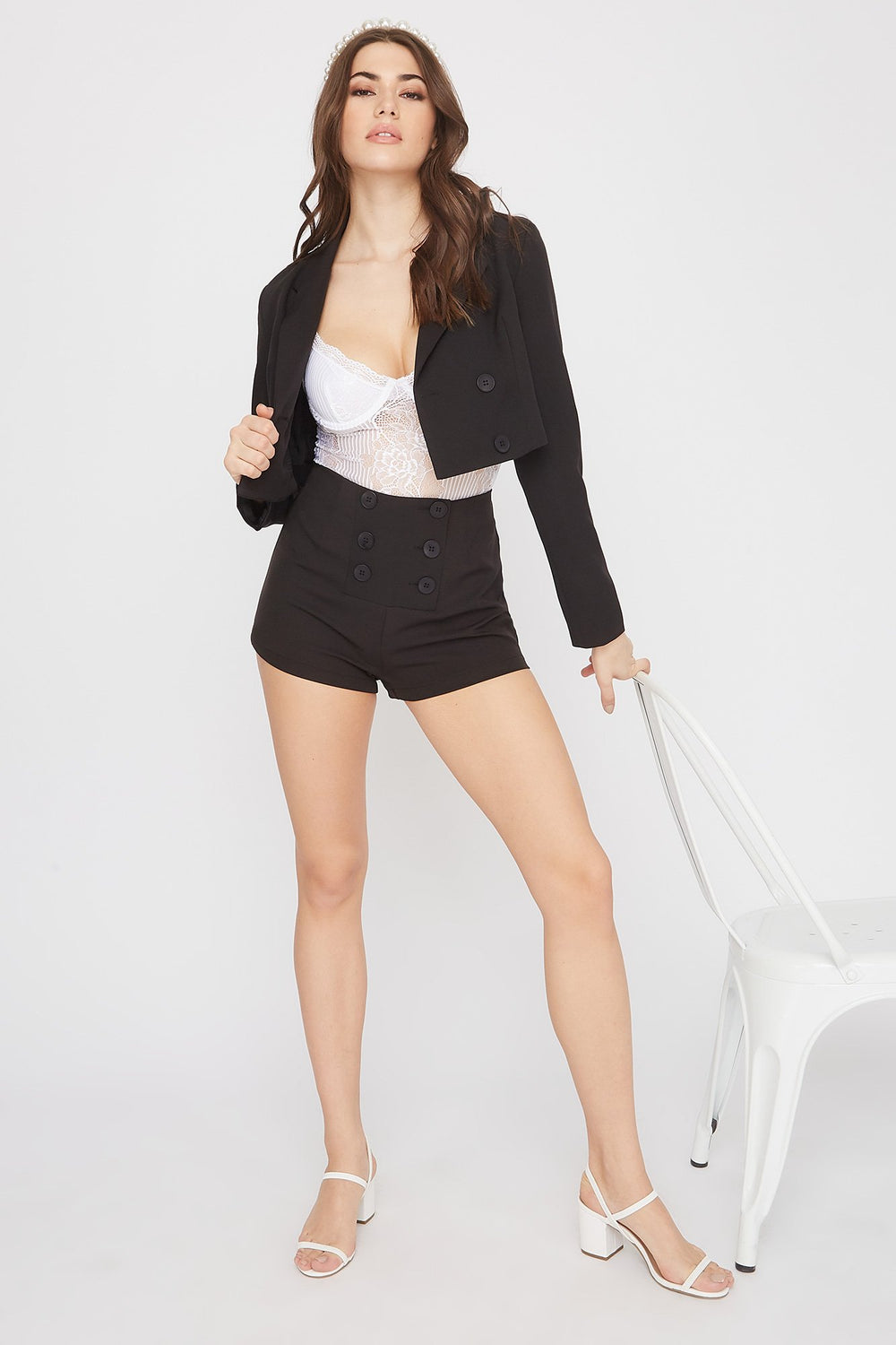Cropped Double Breasted Blazer Black