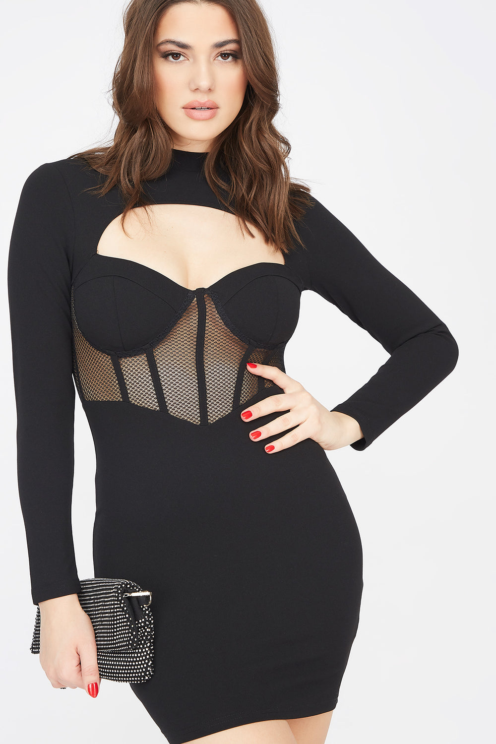 Mesh Corset Cut-Out Long Sleeve Mini Dress Black