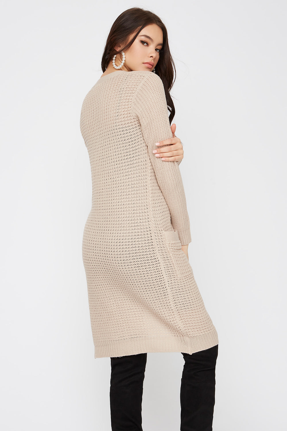 Cardigan long gaufré ouvert Avoine