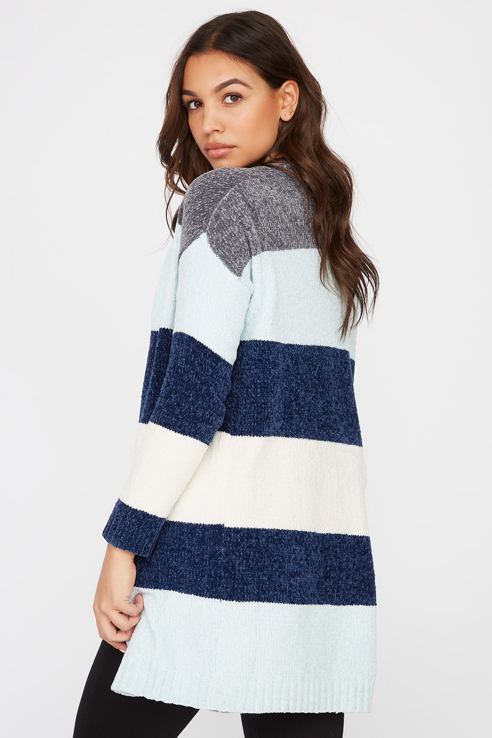 Chenille Colour Block Open-Front Cardigan Assorted