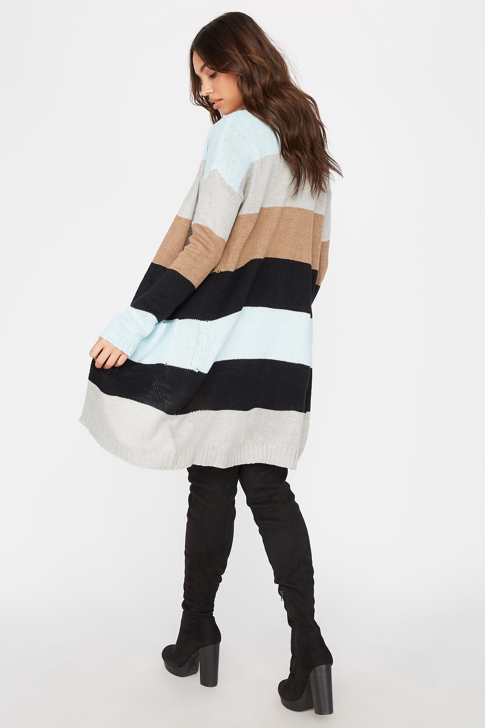 Colour Block Open-Front Longline Cardigan Assorted