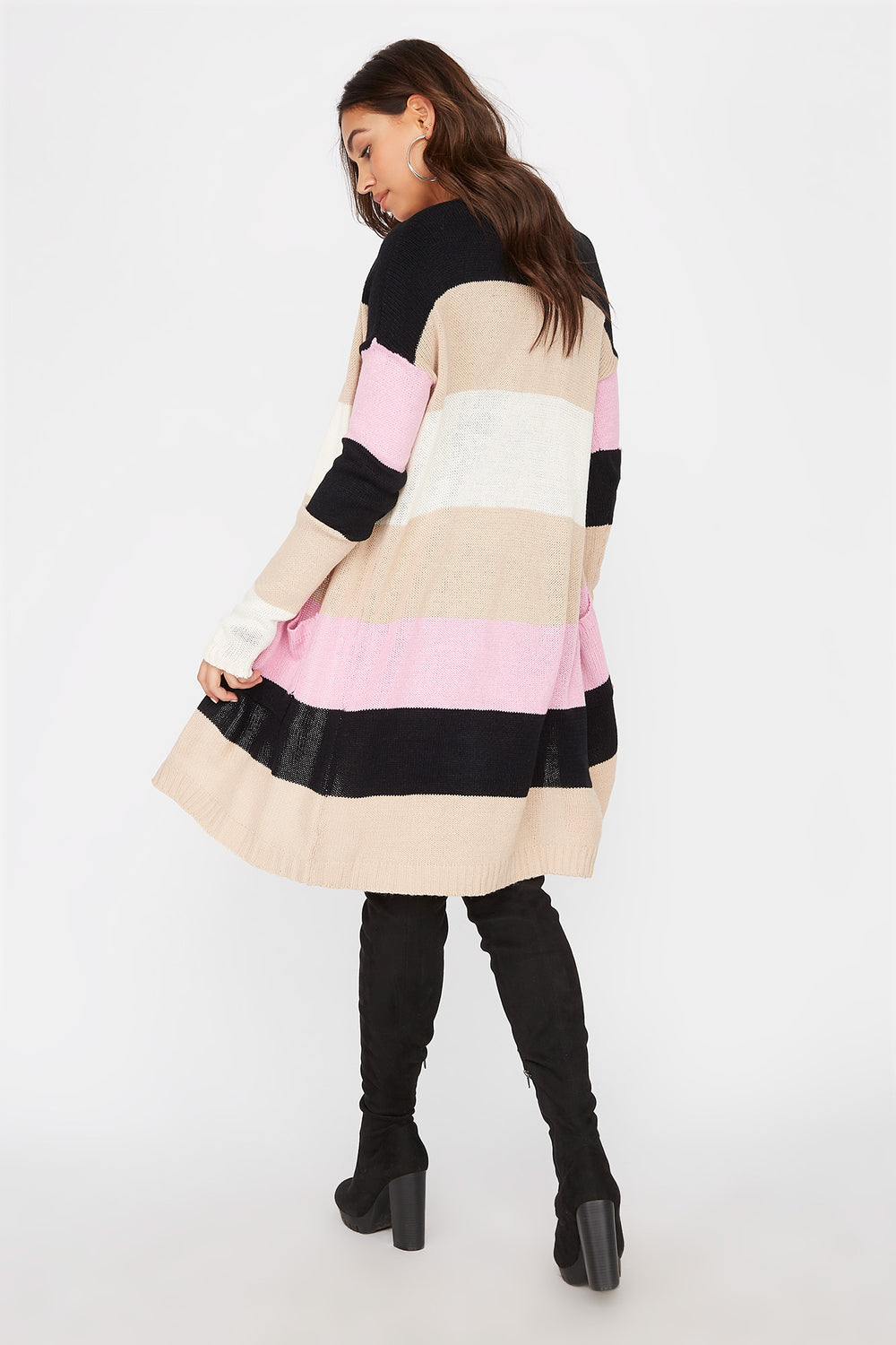 Colour Block Open-Front Longline Cardigan Multi