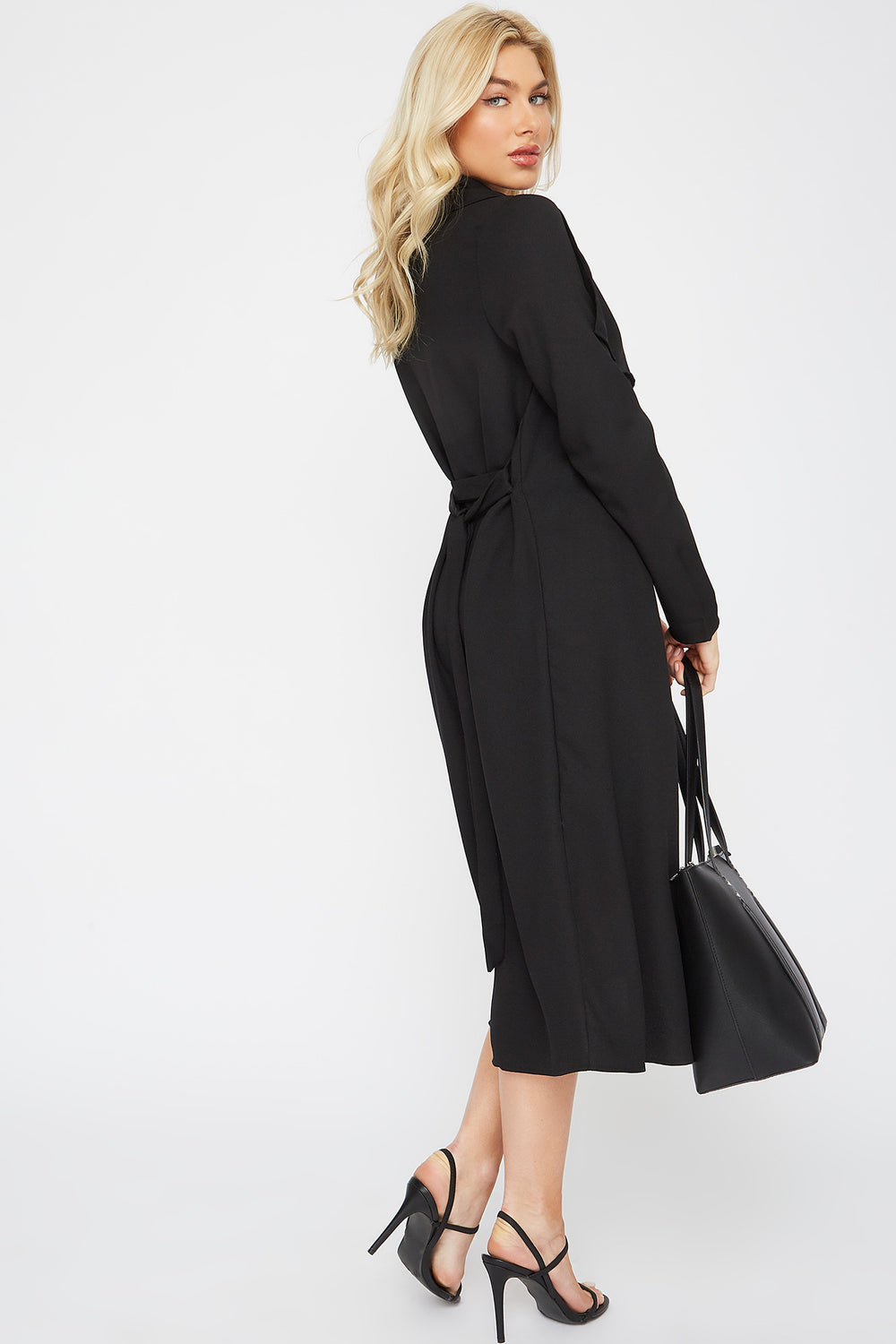 Open-Front Waterfall Duster Cardigan Black