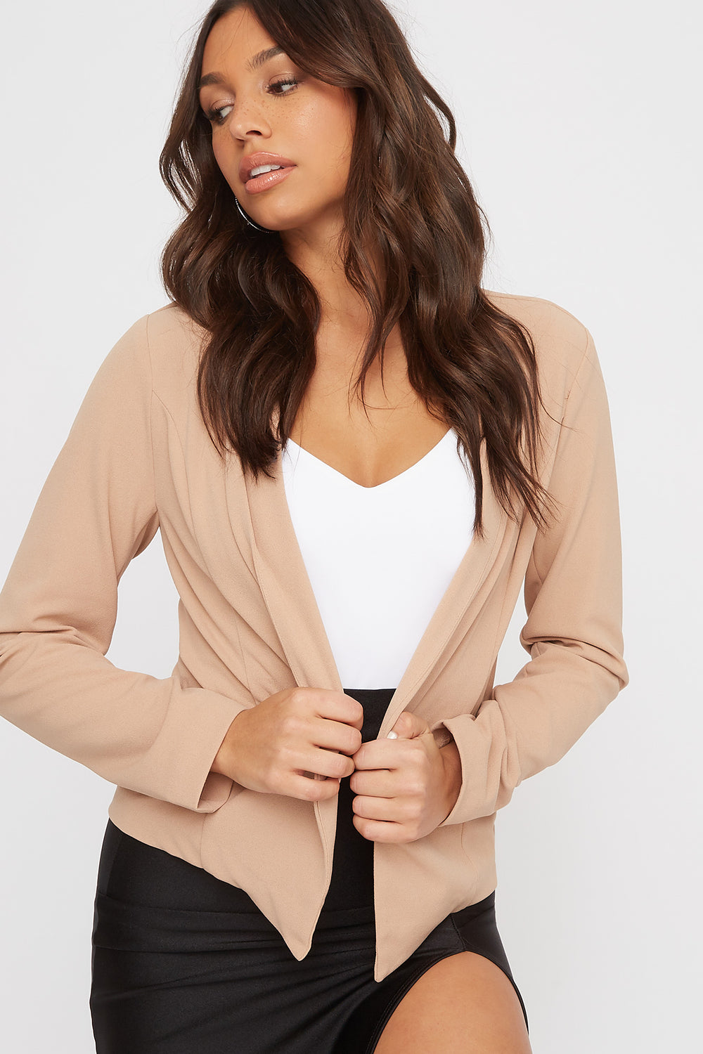 Peaked Open-Front Blazer Taupe