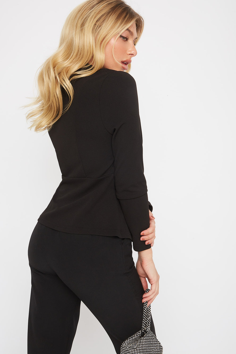 Crepe Single Button Blazer Black