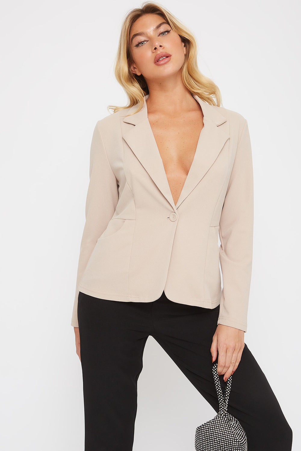 Crepe Single Button Blazer Beige