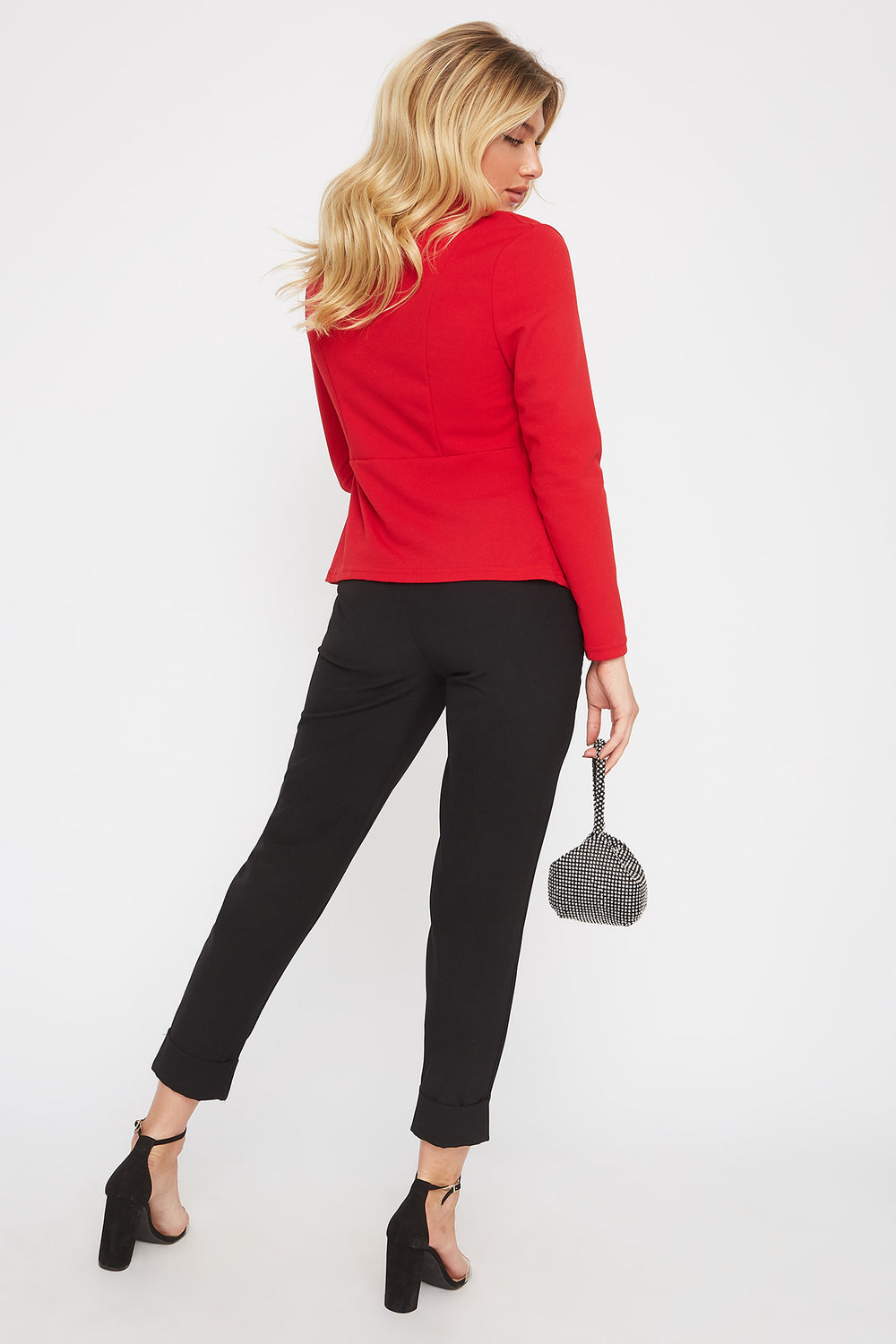 Crepe Single Button Blazer Red