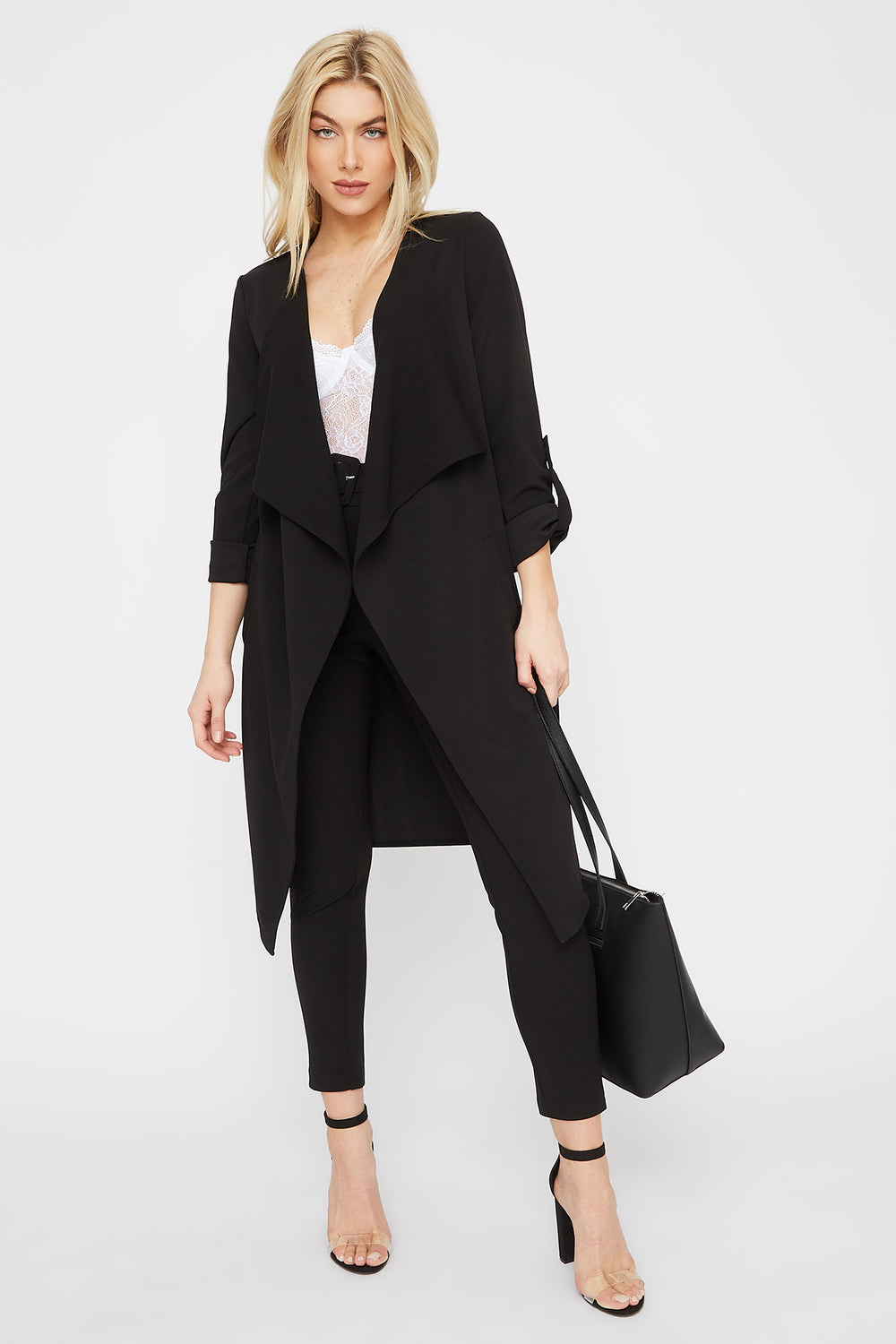 Roll-Tab Waterfall Open-Front Jacket Black