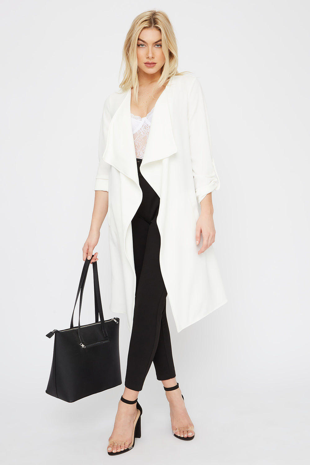 Roll-Tab Waterfall Open-Front Jacket White