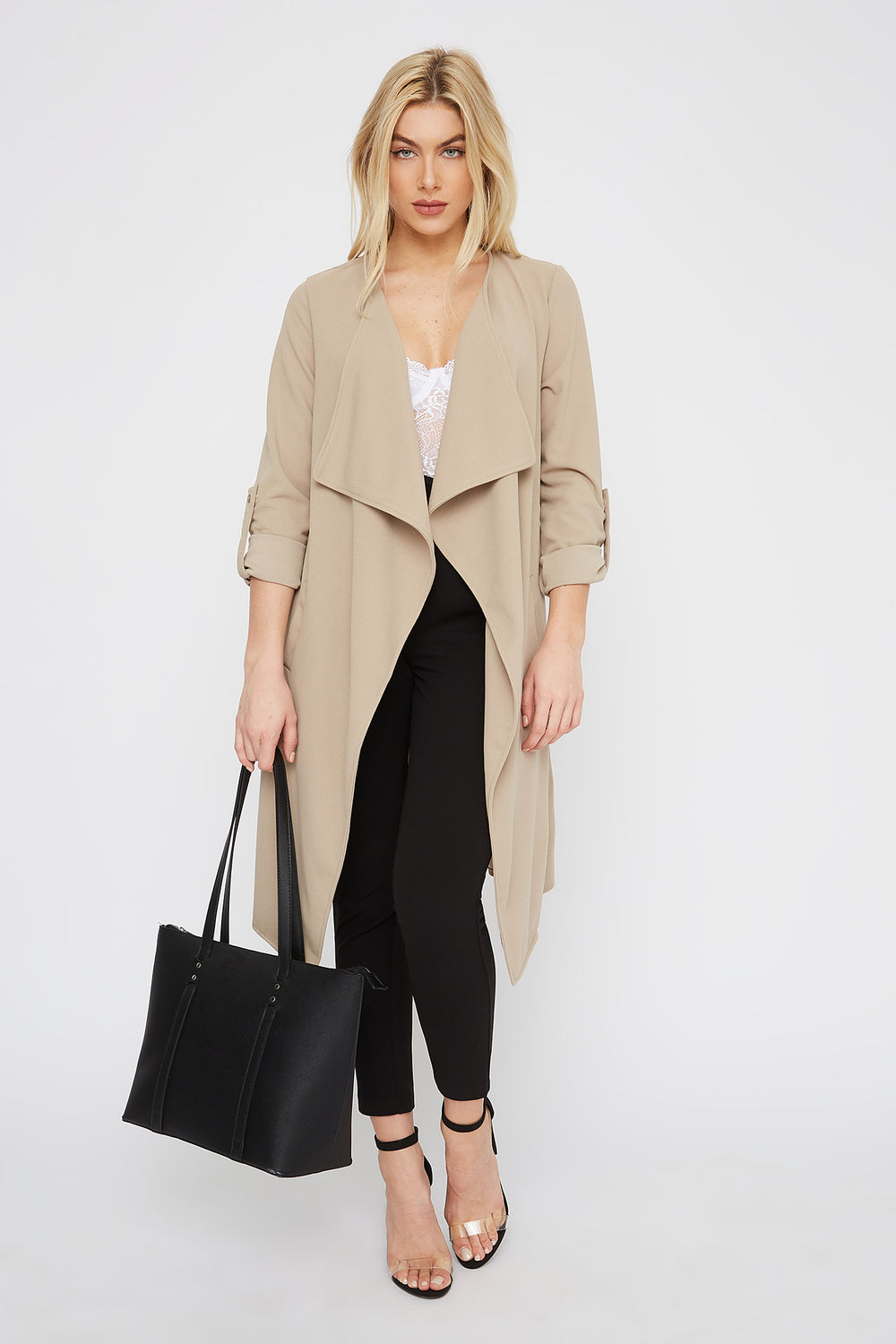 Roll-Tab Waterfall Open-Front Jacket Tan