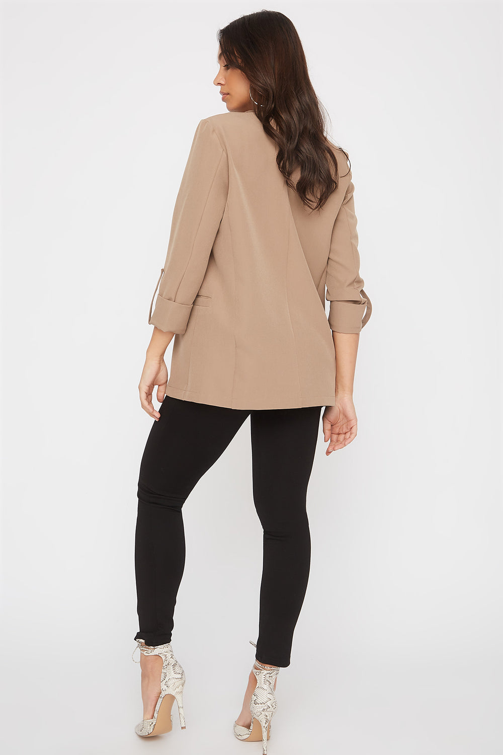 Open-Front Roll Sleeve Blazer Taupe