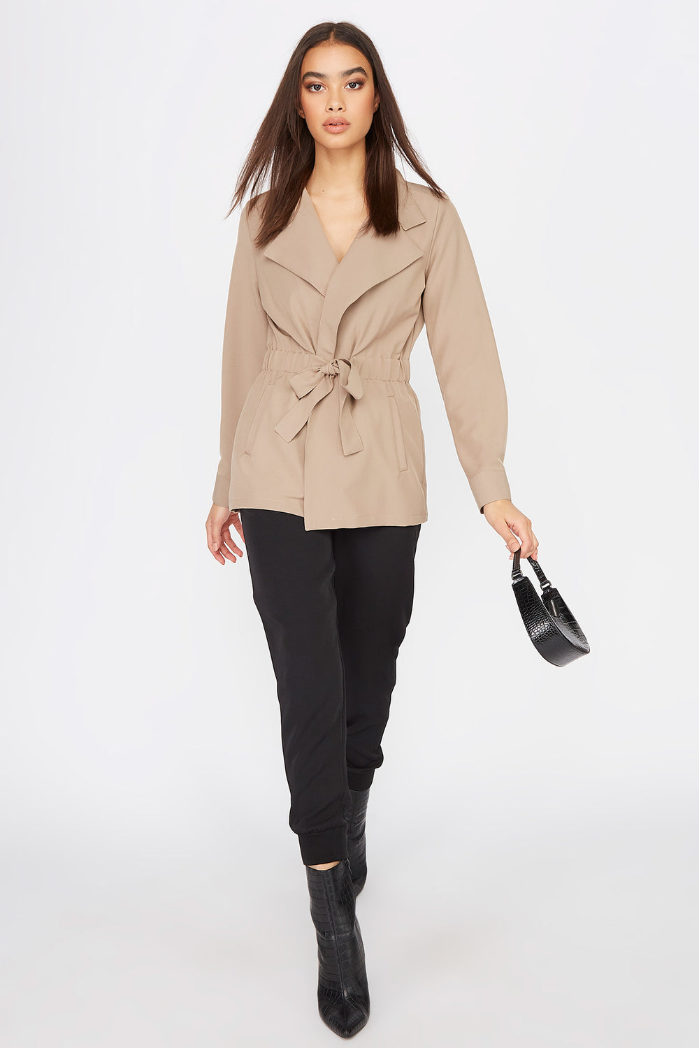 Utility Tie Jacket Taupe