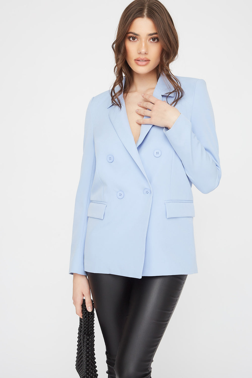 Double Breasted Oversized Blazer Light Blue
