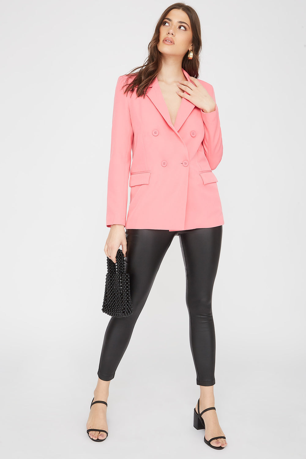 Double Breasted Oversized Blazer Coral