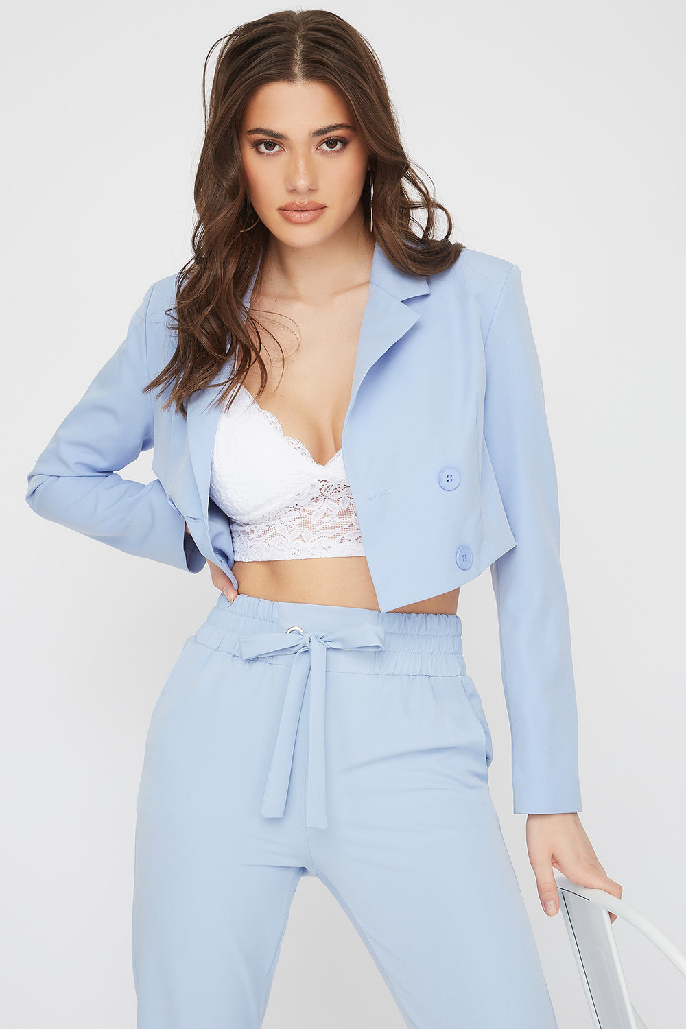 Cropped Double Breasted Blazer Light Blue