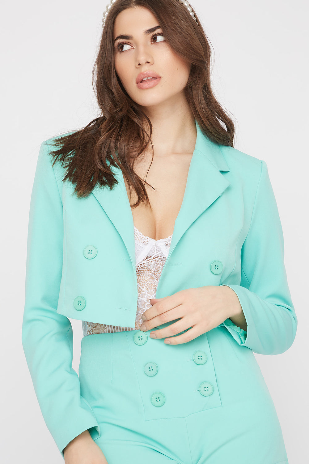 Cropped Double Breasted Blazer Sage