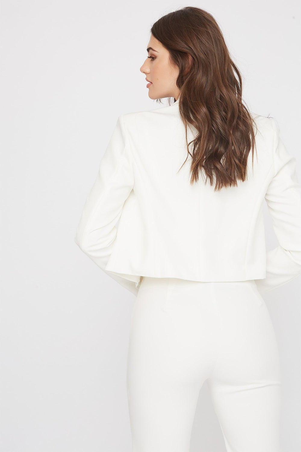 Cropped Button Open-Front Blazer White