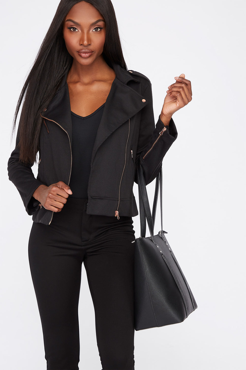 Lightweight Asymmetrical Zipper Biker Jacket Black