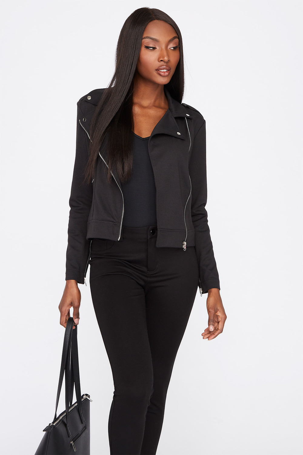 Lightweight Asymmetrical Zipper Biker Jacket Jet Black