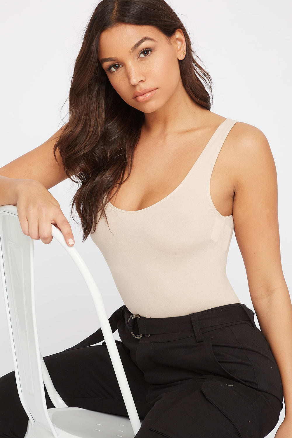 Seamless Scoop Neck Tank Natural