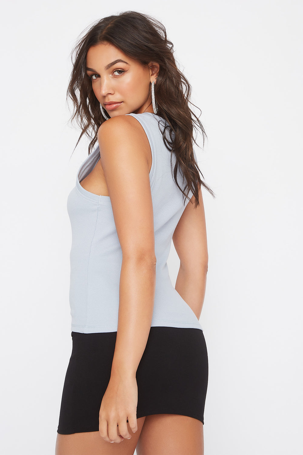 Ribbed Scoop Neck Tank Light Blue