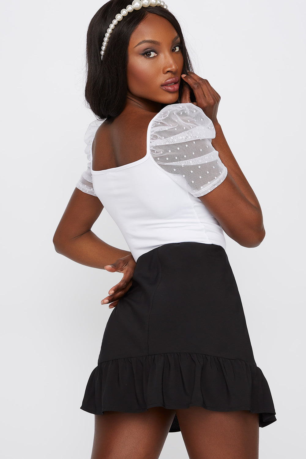 Soft Puff Sleeve Milkmaid Top White