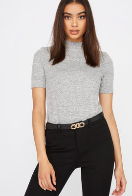 Heather Mock Neck Short Sleeve