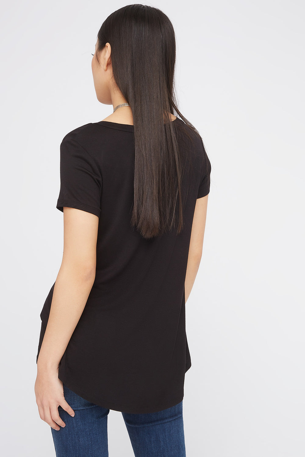 Relaxed V-Neck Pocket T-Shirt Black