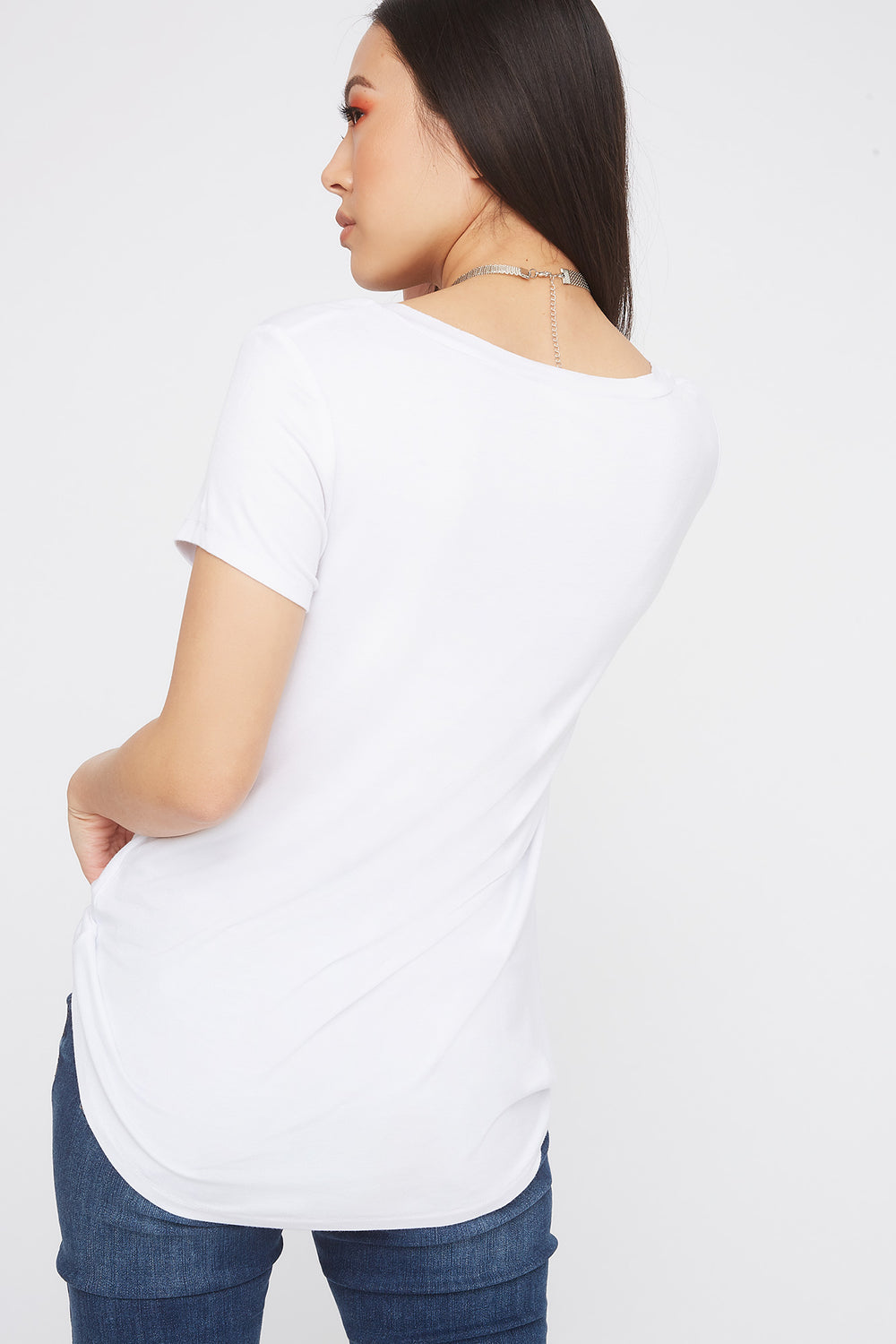 Relaxed V-Neck Pocket T-Shirt White
