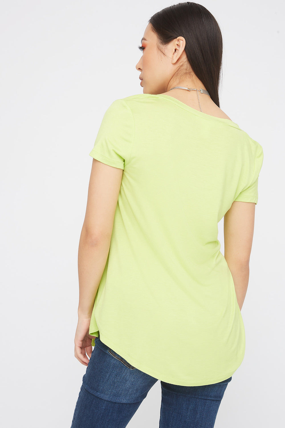 Relaxed V-Neck Pocket T-Shirt Neon Yellow