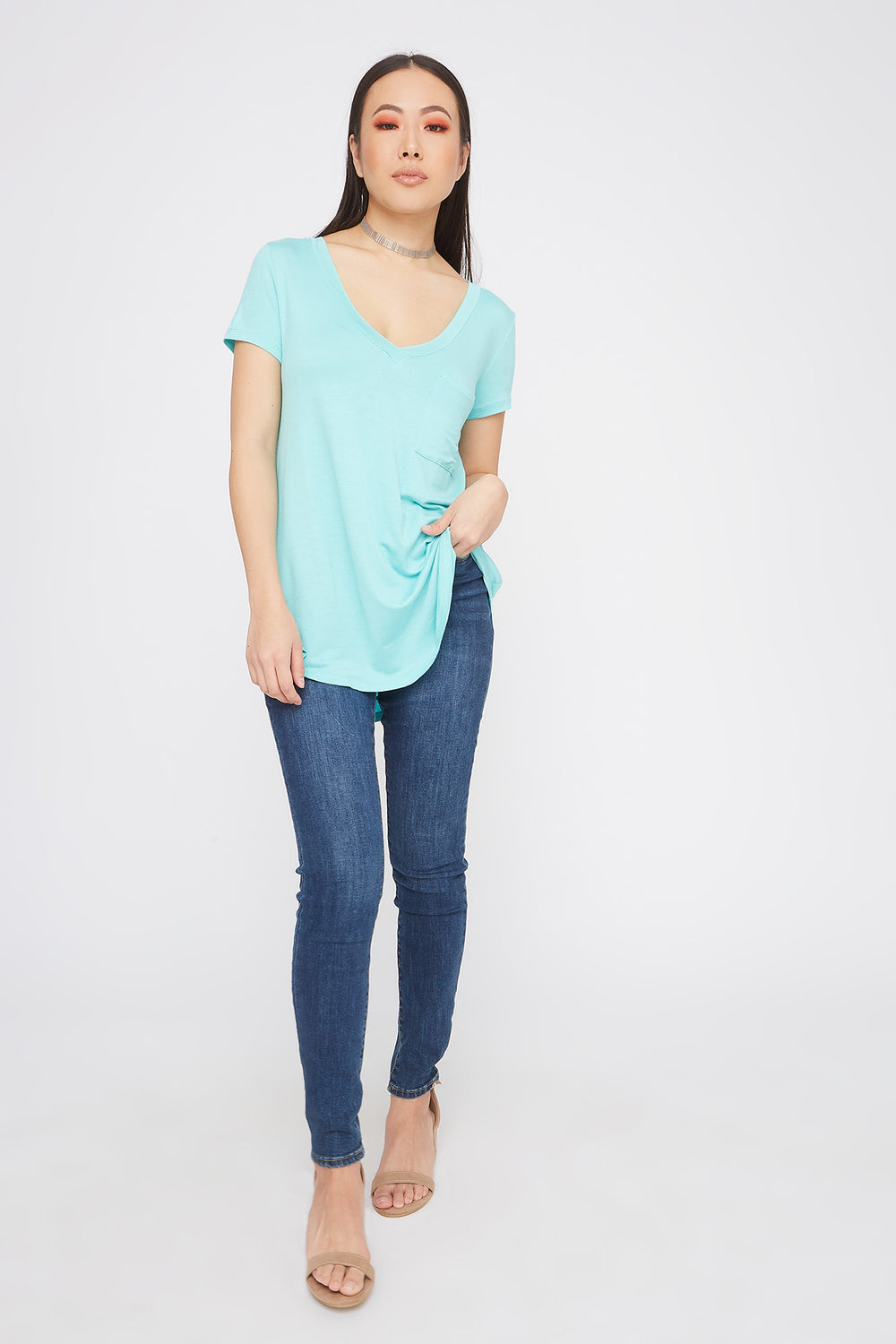 Relaxed V-Neck Pocket T-Shirt Aqua