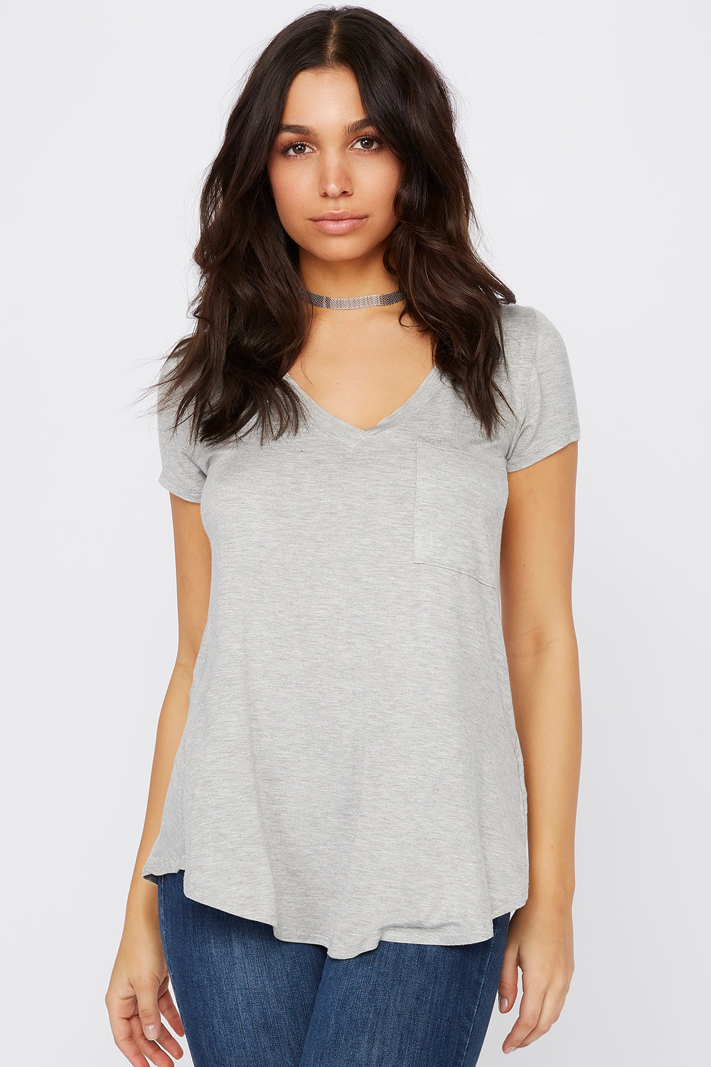 Relaxed V-Neck Pocket T-Shirt Heather Grey