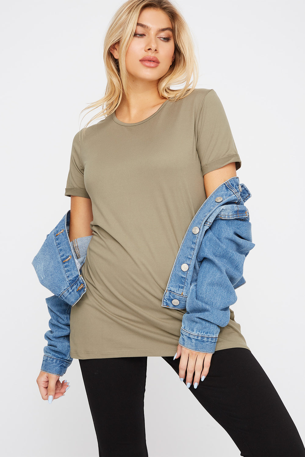 Soft Scoop Neck Cuffed Sleeve T-Shirt Dark Green