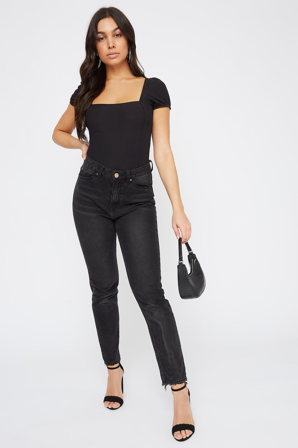 Ribbed Puff Sleeve Square Neck Bodysuit Black