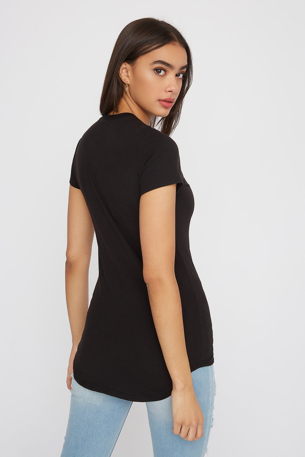 Soft Crew Neck Longline T-Shirt Black