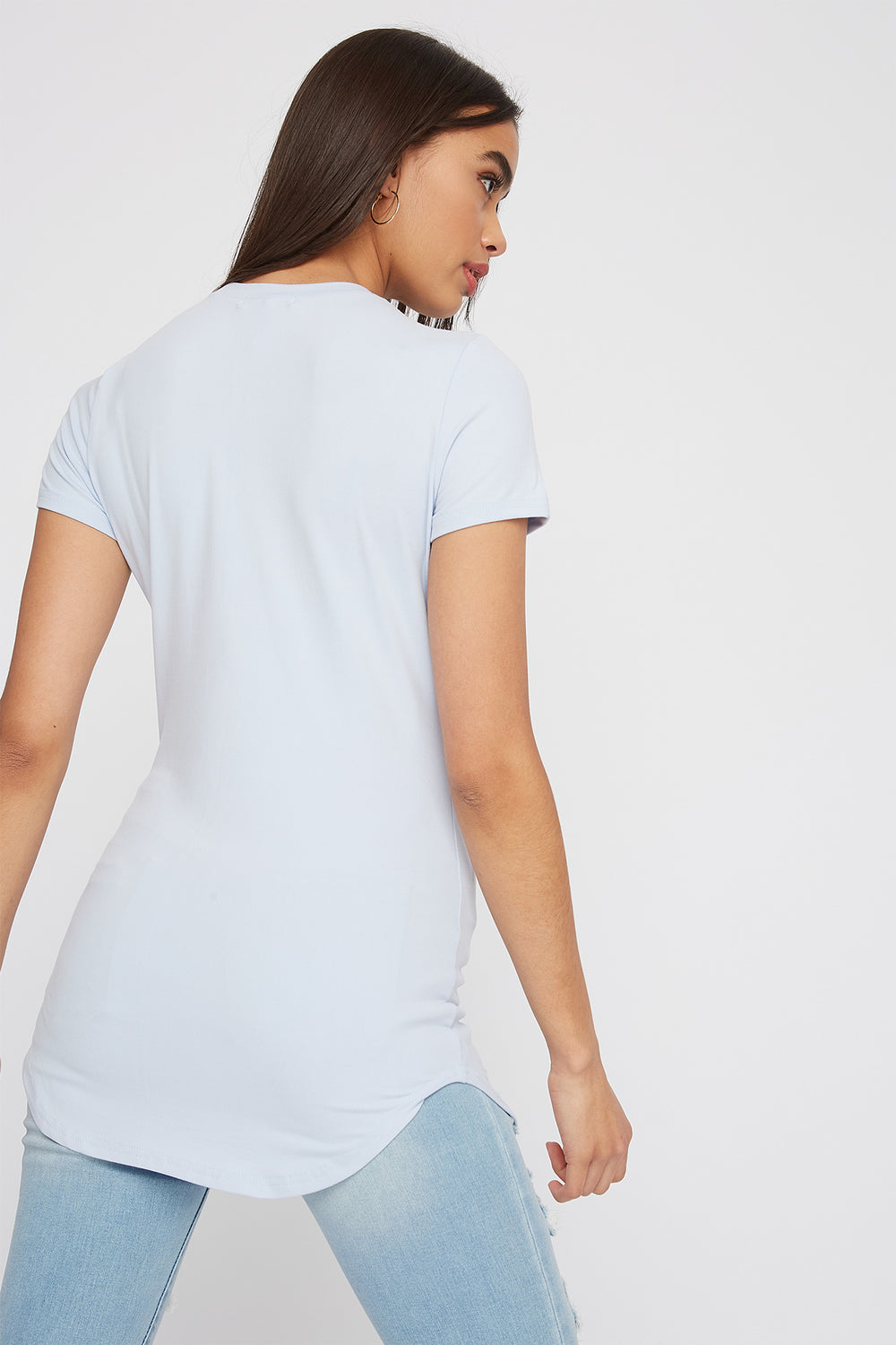Soft Crew Neck Longline T-Shirt Light Blue